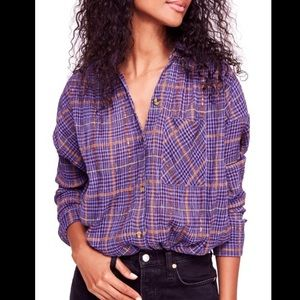 Free People Break My Stripe Plaid Button-down